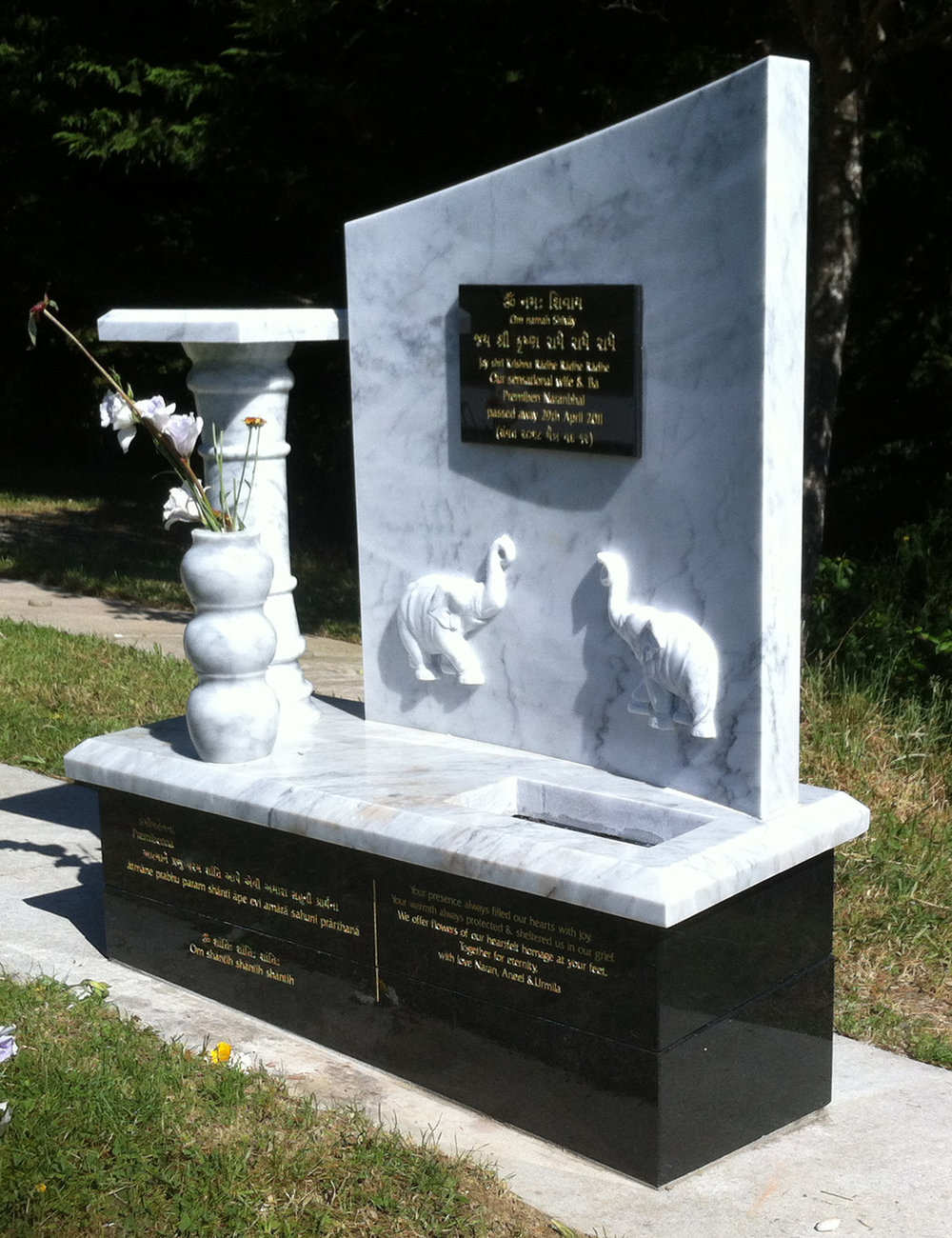 Carrara Marble. Black Granite. Monument. Custom. Elephant. India. Garden.jpg