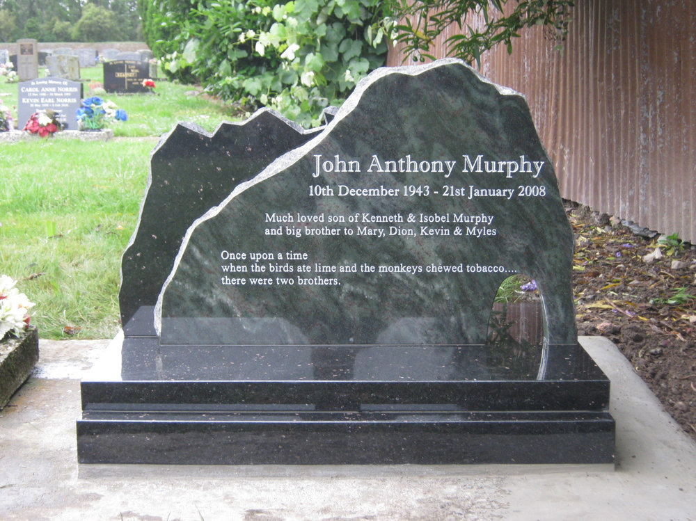 Jade Green. Black Granite Headstone. Train. Mountain. Custom Design (1).JPG