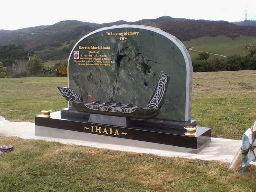 Kakariki Green Granite Headstone. Jade Green carved waka. 23 carat gold leaf. Custom design.jpg
