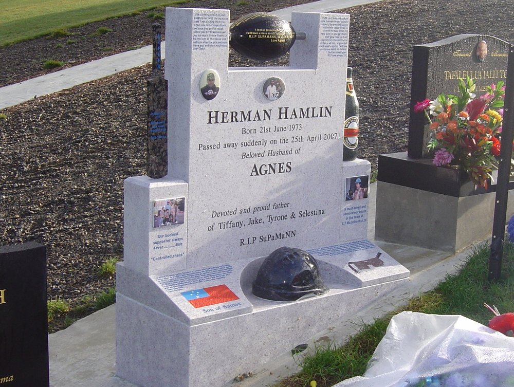White Pearl Granite headstone. Steinlarger. Cricket. Hard hat. Rugby Ball. Cook Islands. Custom.jpg