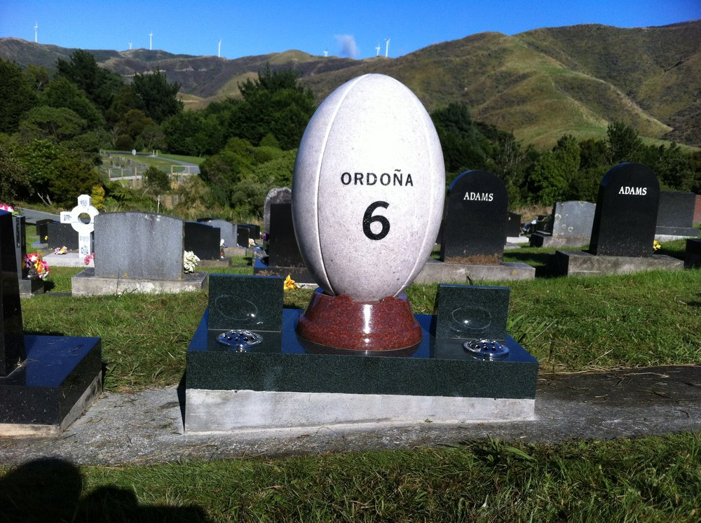 White Pearl Granite Headstone. Rugy Ball. Custom Design (1).JPG