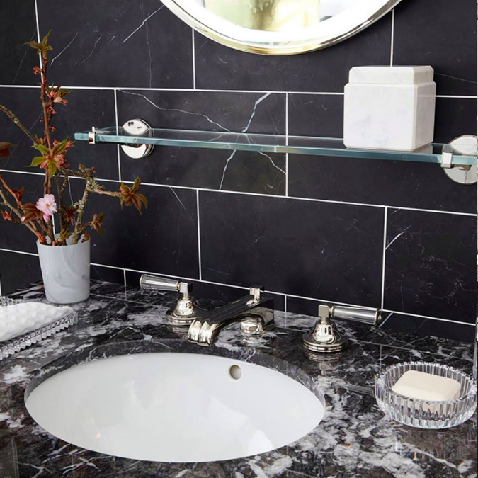In our LA showroom our Boulevard faucet paired with 2 styles of black marble nods to the days of Deco. #ThePerfectBath