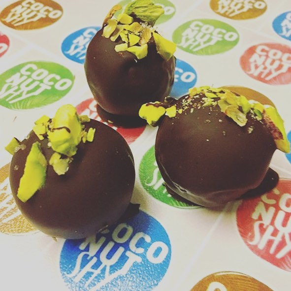We have a new trader joining us this Saturday @coconutshy_london with a delicious range of chocolate coated coconut balls - including vegan ones #womeninbusiness #hackney #hackneywomen #wellstreetmarket #wellstreet #traders #homerton #vegan #coconut #coconutballs #chocolate #sweettreat #yum