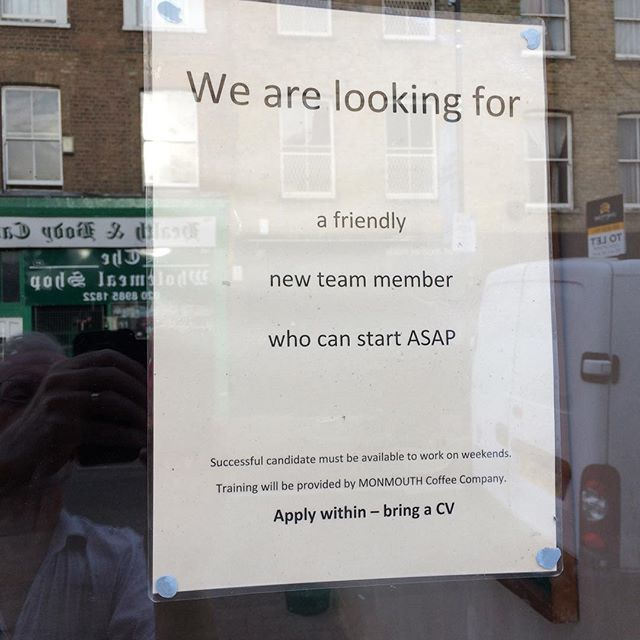 Job vacancy at Loafers cafe on Well St E9.