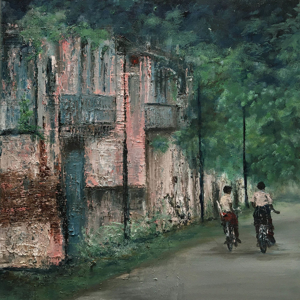 Cycling home, Chettinad, Oil, 2016, 20 * 20