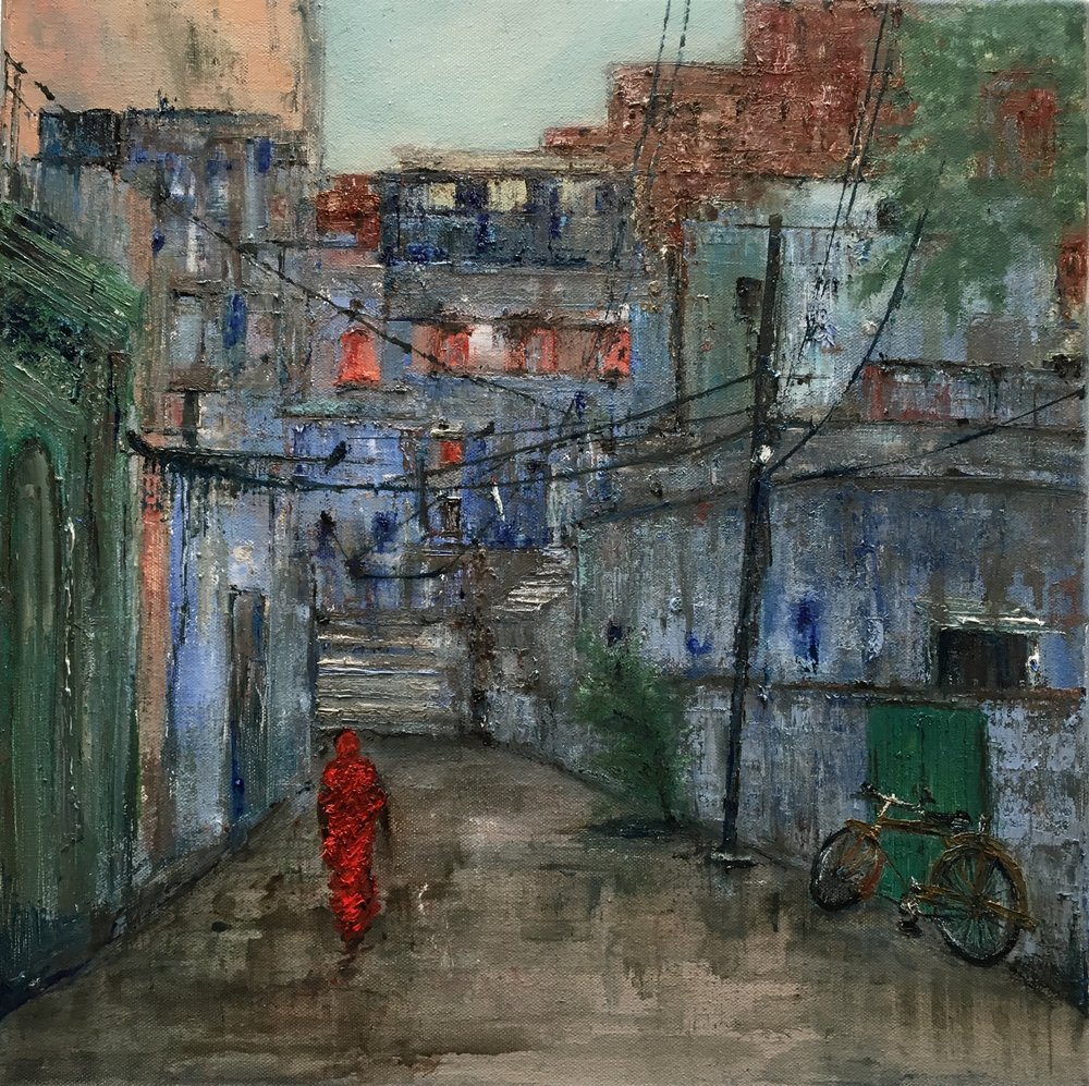Monsoon, Jodhpur, Oil, 20 * 20 inches, SOLD
