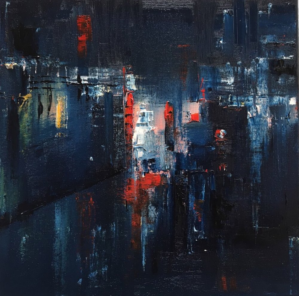 "Night lights I, London, Oil, 12"" * 12"""