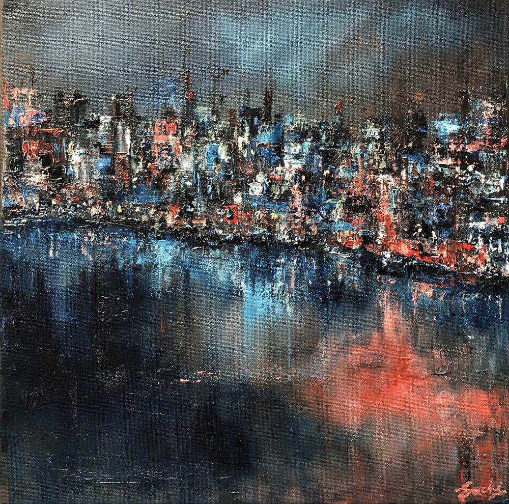 """Night light II, Oil, 12"""" x 12"""""""