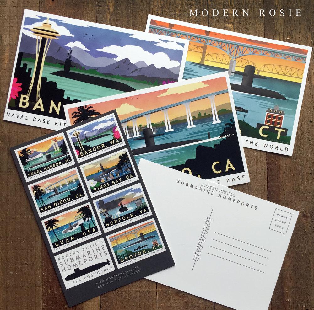 Submarine Homeport Postcard Set