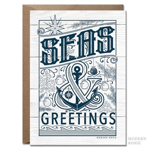 Seas greetings 5x7 nautical holiday card modern rosie seas greetings 5x7 nautical holiday card m4hsunfo
