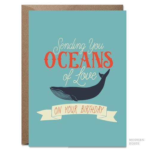 Oceans Of Love 5x7 Birthday Card Modern Rosie