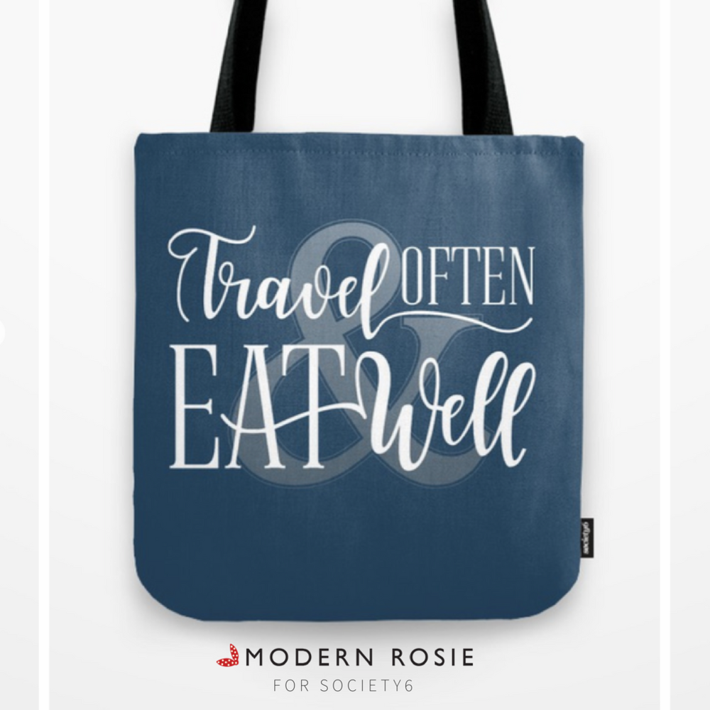 """Travel Often & Eat Well"" Tote Bag - $20.99"