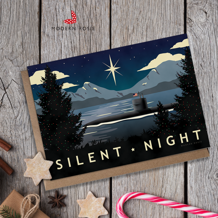 Silent Night - 5x7 Submarine Holiday Card — Modern Rosie