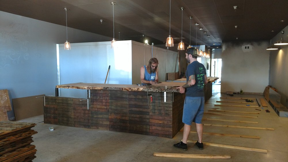 Bar kick is on, bar tops are in now! Thank you Dave for helping us!