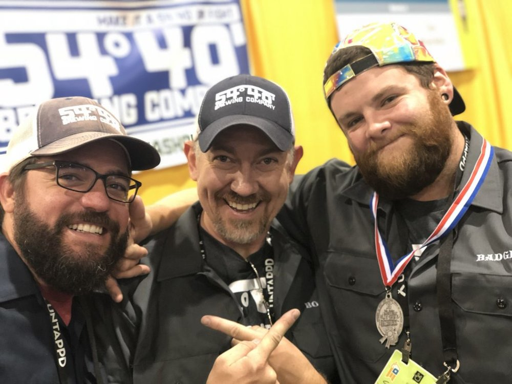 54-40 Brewing Team at GABF donning their Silver Medal