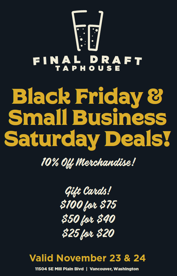 small business saturday merchandise and gift card specials