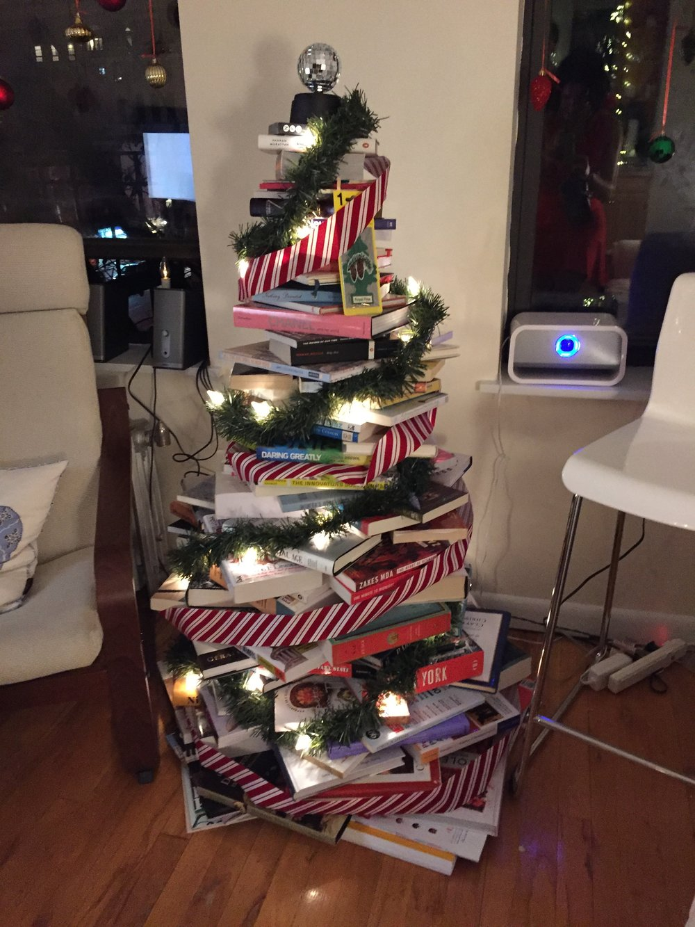 Book tree - and there were books to spare! A true thespian's West Village nook.