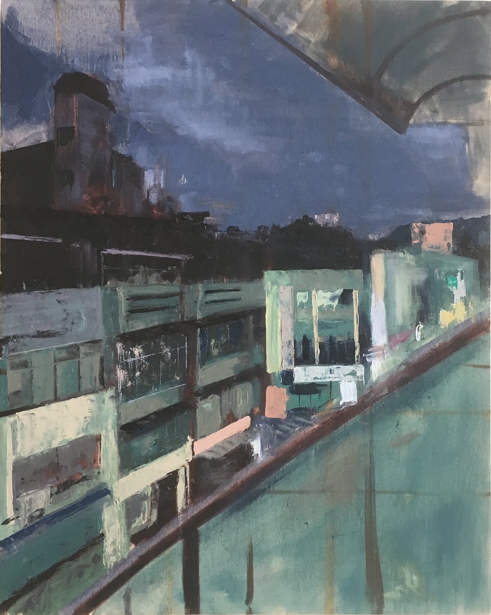 ROOFTOP NIGHTS  16 x 20 Oil on Wood Panel