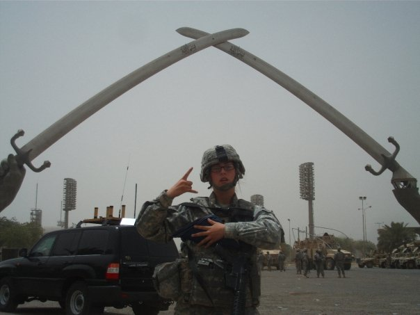 My re-enlistment ceremony in front of The Arch of Triumph
