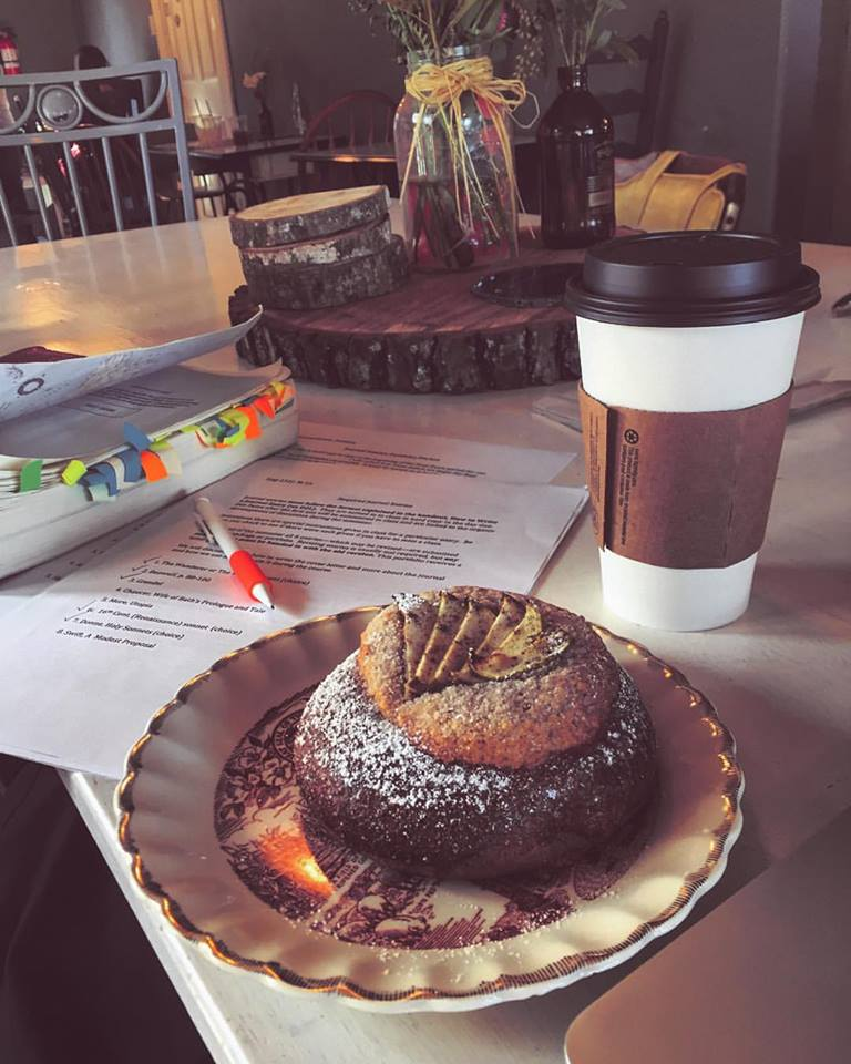 Coffee shops are my favorite place to study. If you have time take it and work on everything that you can do within that time. Plus pastries always help!