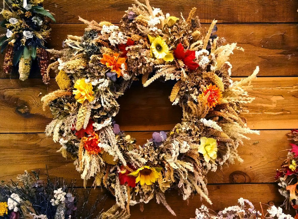 Put the wreath on the table instead of the door for a more festive decoration.