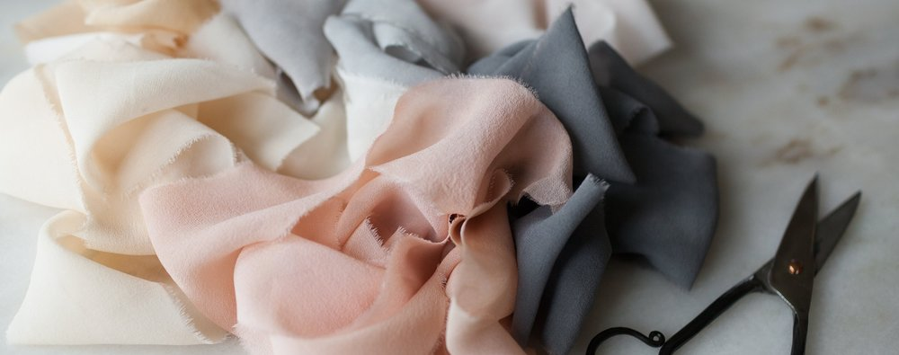 hand made plant dyed silk chiffon ribbon