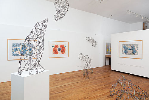"""Dancing Series"" with sculpture by Jodie Roth Cooper in ""kinesis: PRISCILLA FOWLER & JODIE ROTH COOPER,"" installed in 2015 at Mai Wyn Fine Art, Denver, CO."