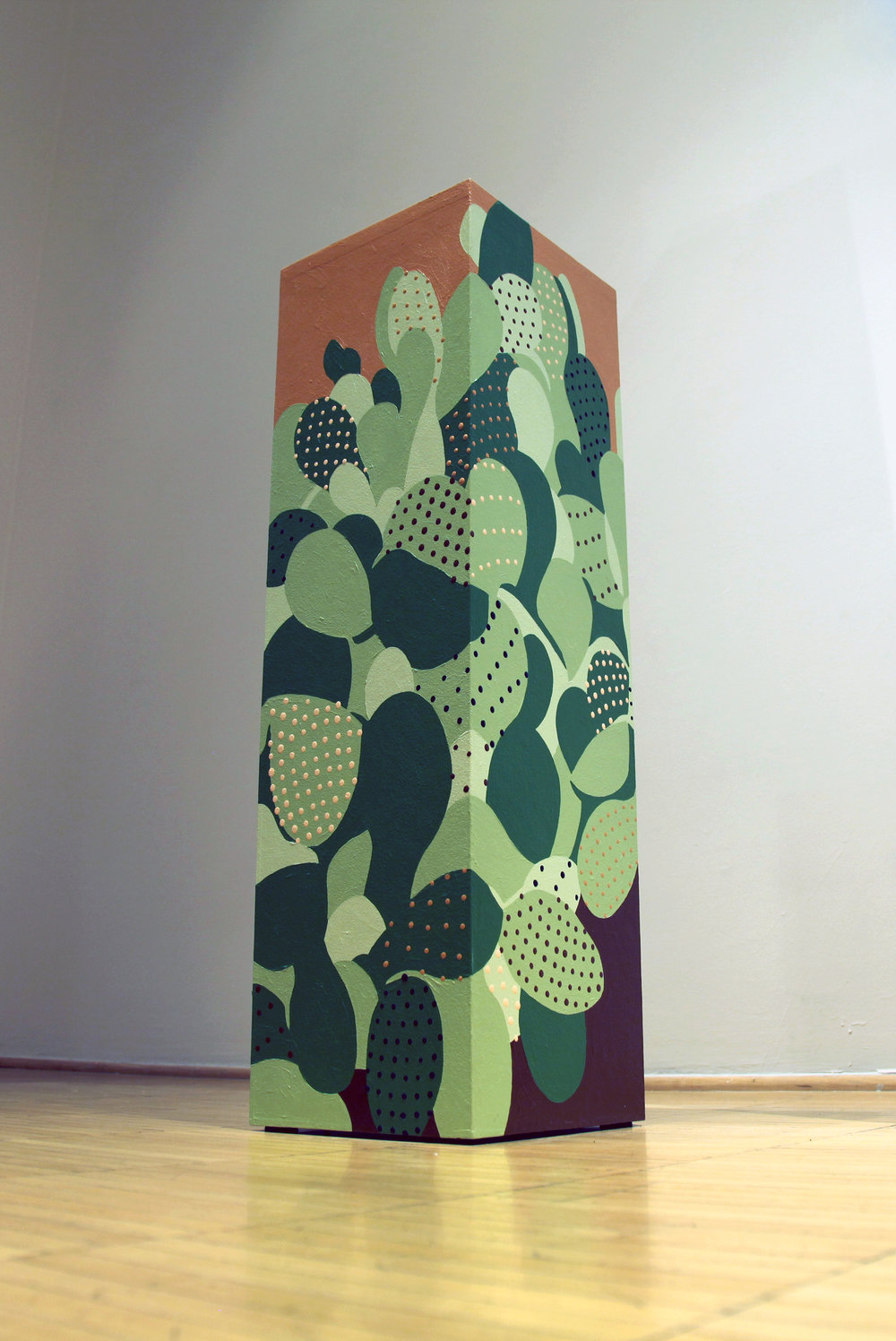 Beavertail Cactus,  2014  Acrylic on wooden form  30 X 9 X 9 in.  View Artsy to purchase