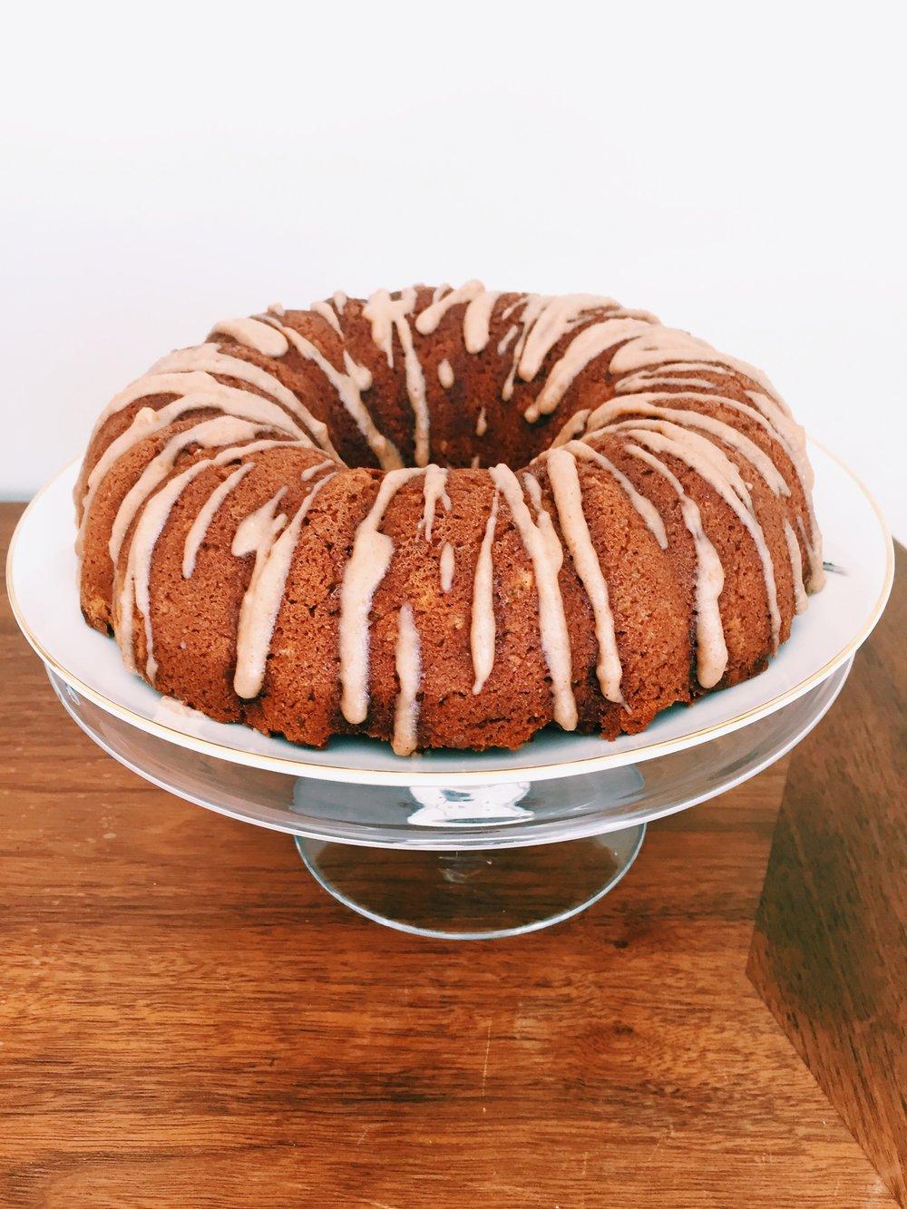 rum cake w/maple coconut glaze