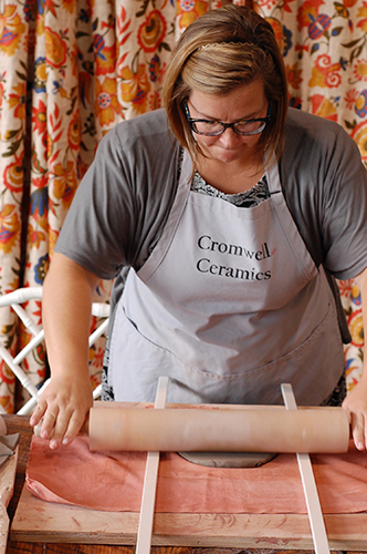 Ashley-rolling-slab-cromwell-ceramics-grasonville-kent-island-pottery-night.jpg