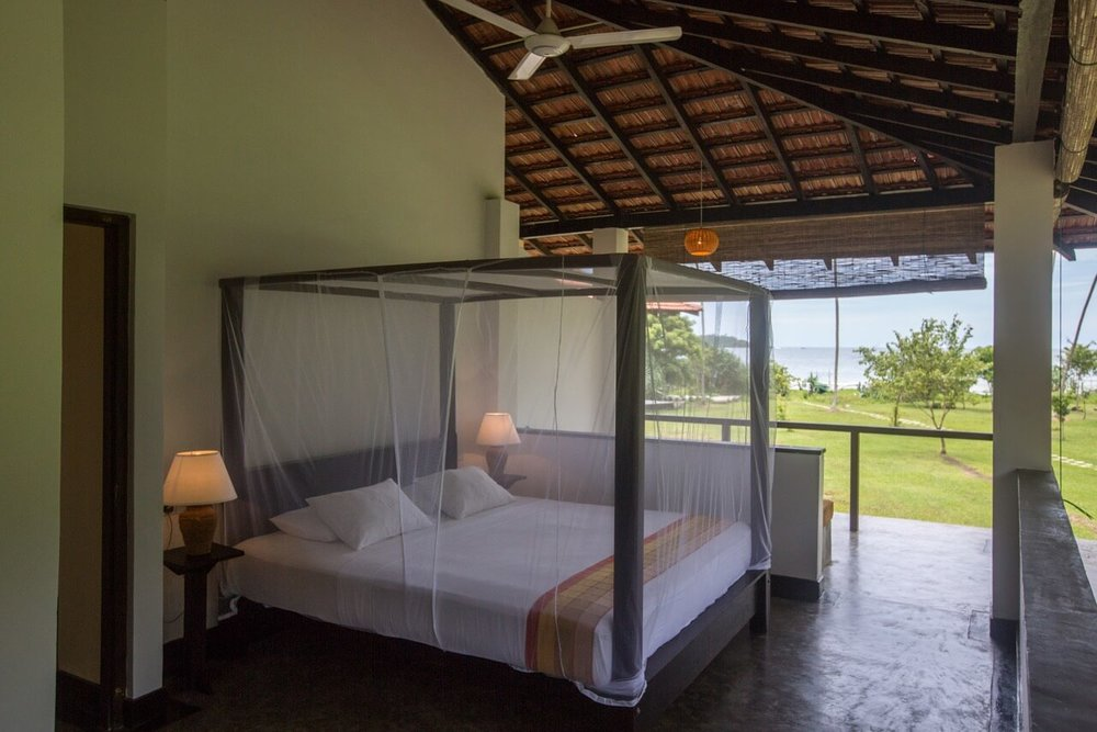 Villas: ground floor A/C, top floor ceiling fan, four poster beds (twin or double), mosquito nets, desk, safe, outdoor shower, organic toiletries, towels