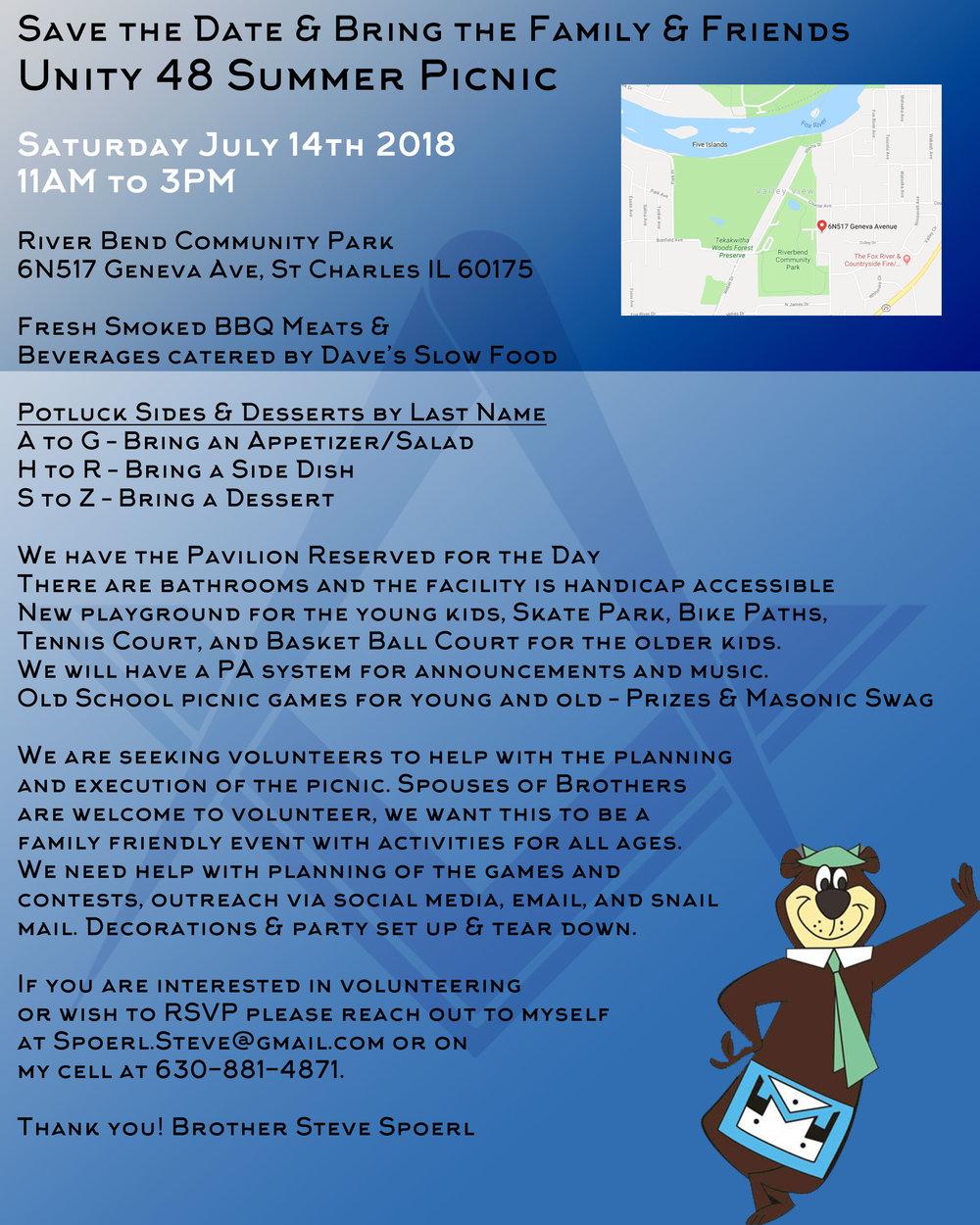 Unity 48 Summer Picnic !! 7/14/2018 — Unity Lodge #48