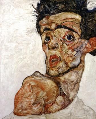 Self Portrait with Bare Shoulder Egon Schiele, c.1912