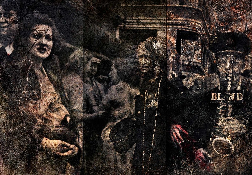 Parade in Petticoat Lane, 1952 (my mother holds her basket)  2014 Archival pigment print 100 H x 152 W cm / 39.25 x 60 in