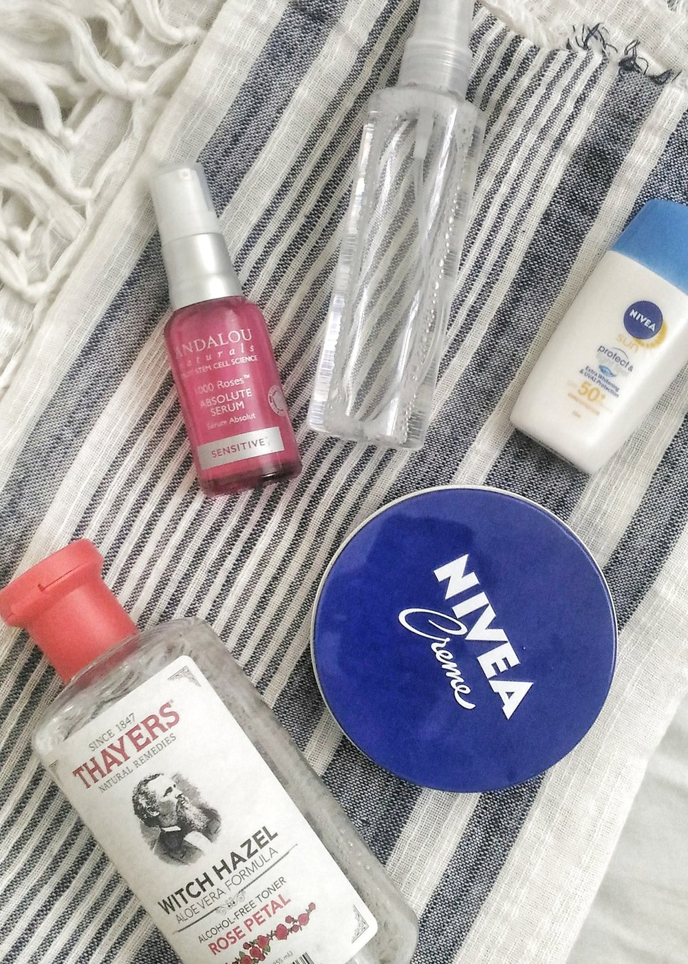 Cheap but effective! Thayers Witch Hazel Rose Petal Toner used as face mist, Nivea Creme, Nivea Protect and Light Feel, Andalou Naturals 1000 Roses Absolute Serum
