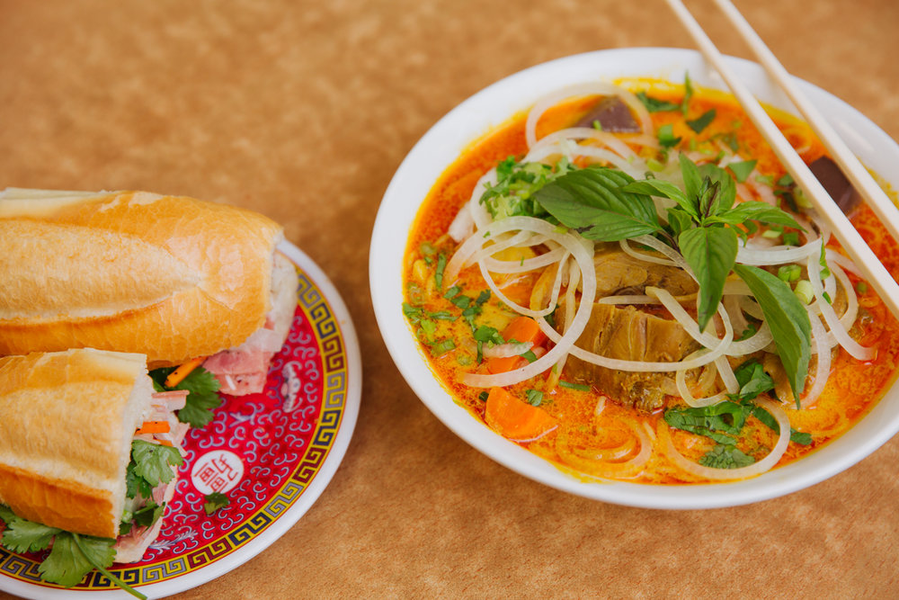 Banh mi and curry chicken pho