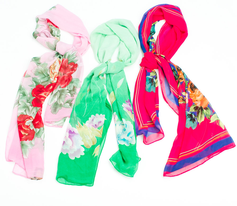 Floral Silk Scarves $4-5 from Wah Lai Fashion - 910 Stockton Street
