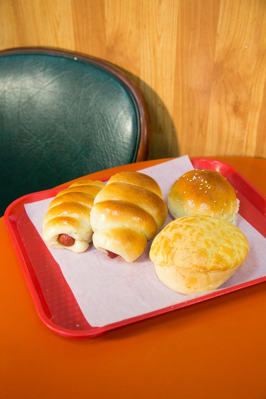 coconut buns, hot dog buns, plain buttery milk bread