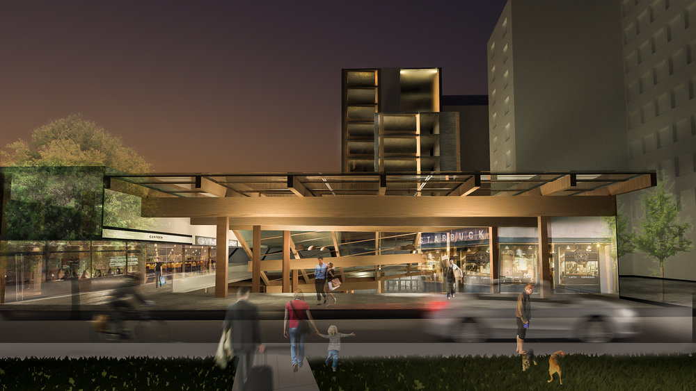 Render | Entrance to underground market from Rue de Montigny    Glass-timber canopy morphs as it dips underneath the hotel
