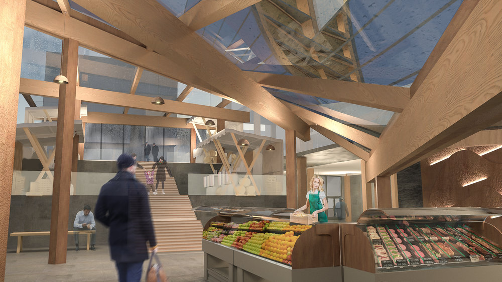 Render | Interior of the subgrade market    Stairs from Saint Catherine St. that leads down to the market