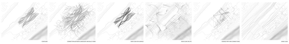 Extracted groups of linework    From L to R: contours, connection between landscape and built form, rain flow on surface, rain flow on site, sewage path and connections, wind flow