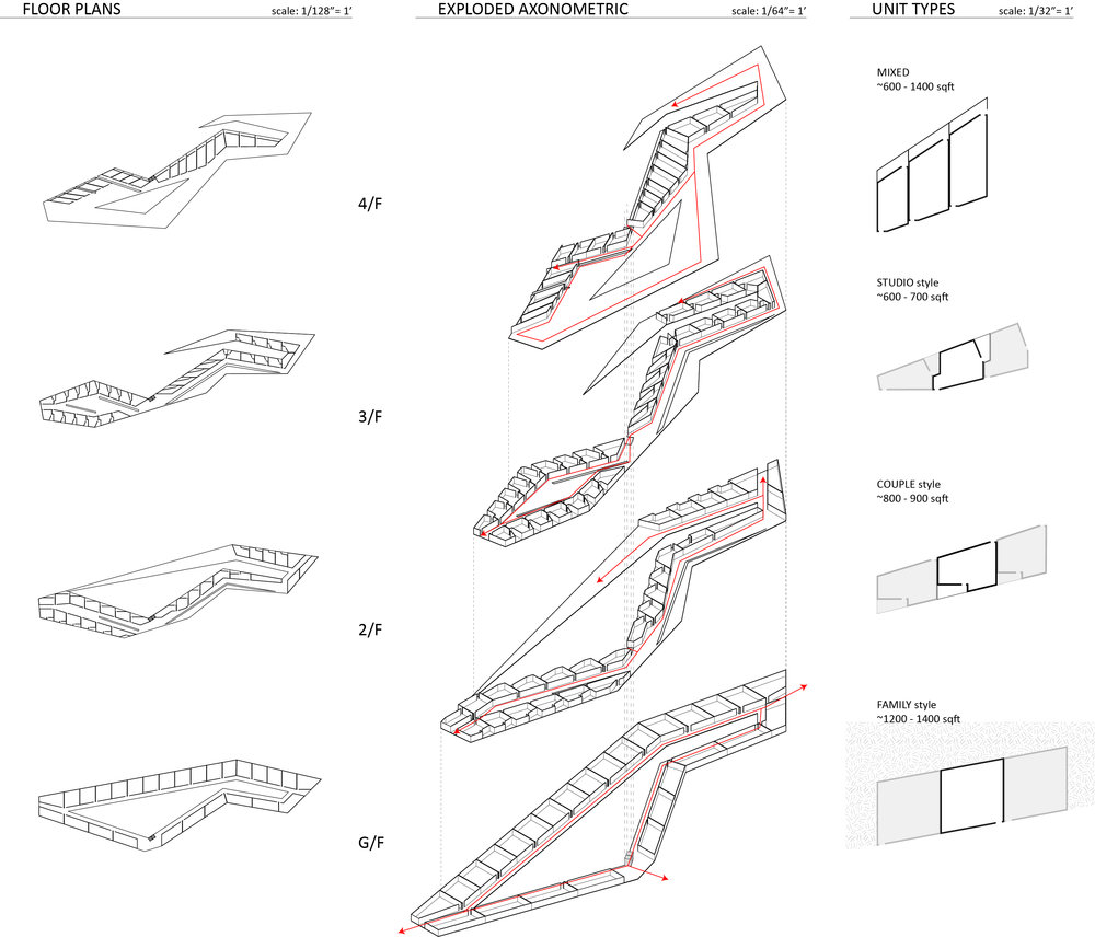 """Floor Plans of one of the """"mountain"""" housing blocks"""