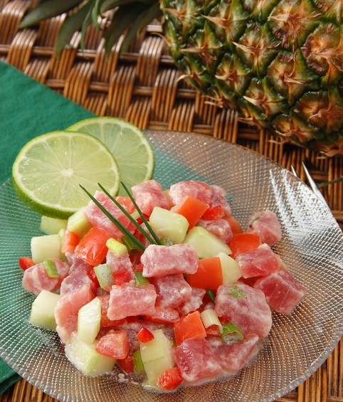 The unofficial national dish of French Polynesian is called 'Poisson Cru A la Tahitienne', also known as E'ia Ota.