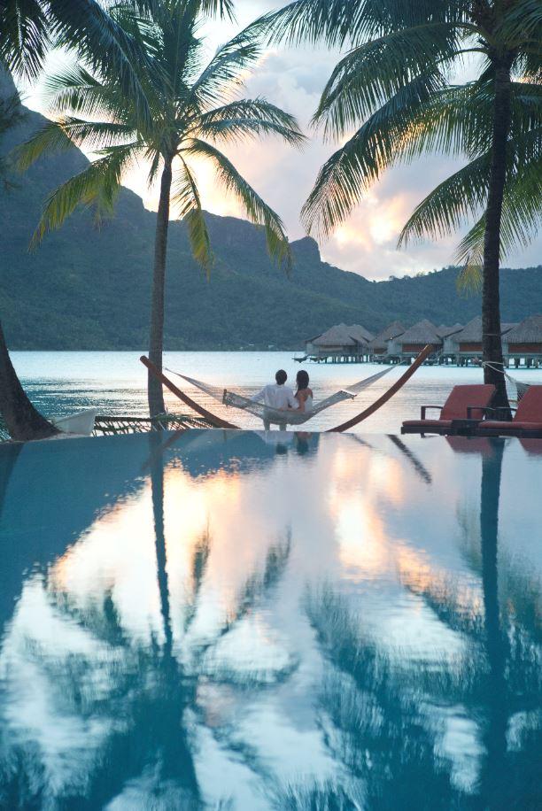 A couple in Bora Bora