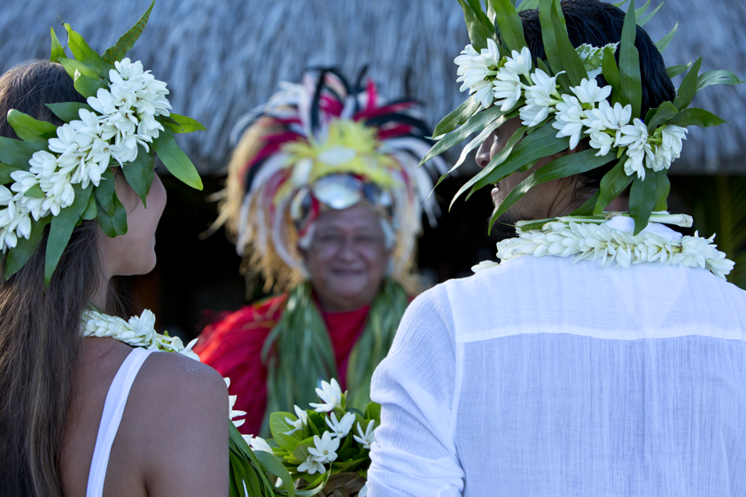 A traditional wedding ceremony in Tahiti