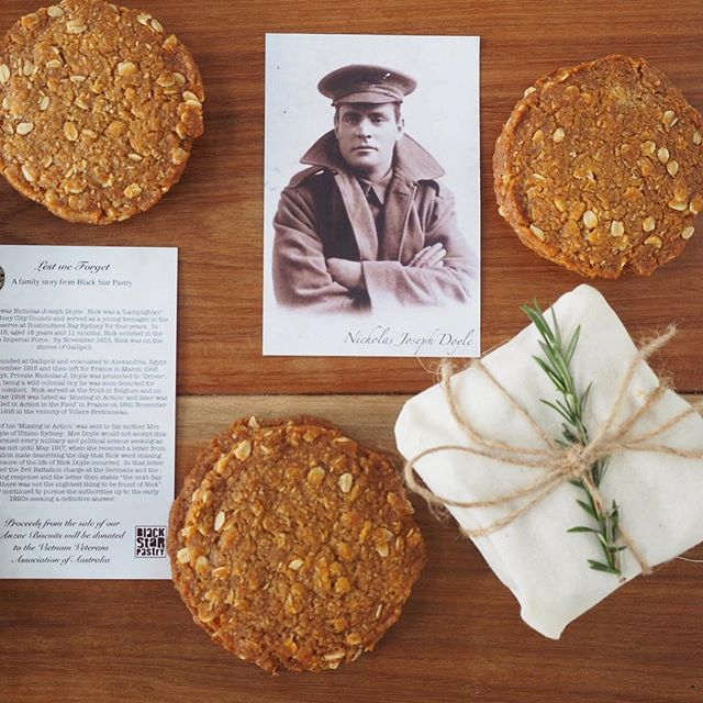 Anzac Day Opening Hours  Wednesday 25th April 2018  CBD  1pm - 5:30pm  Newtown  8am - 3pm  Rosebery  8am - 3pm  Moore Park  9am - 4pm  Buttery, coconutty, chewy biscuits that will perfume any room with the sweet scent of golden syrup. Every year, Black Star Pastry donates proceeds from the sale of its Anzac Biscuits to the Vietnam Veterans Association of Australia to support the work they do with returned servicemen and women. Available now in all stores. Packs of 4, $11 or as a single for $3. We are also taking orders online if that works for you.
