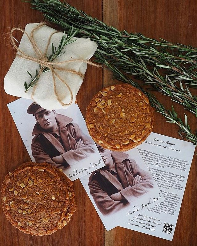 Lest We Forget  Wednesday 25th April 2018  CBD  1pm - 5:30pm  Newtown  8am - 3pm  Rosebery  8am - 3pm  Moore Park  9am - 4pm  Buttery, coconutty, chewy biscuits that will perfume any room with the sweet scent of golden syrup. Every year, Black Star Pastry donates proceeds from the sale of its Anzac Biscuits to the Vietnam Veterans Association of Australia to support the work they do with returned servicemen and women. Available now in all stores. Packs of 4, $11 or as a single for $3. We are also taking orders online if that works for you.