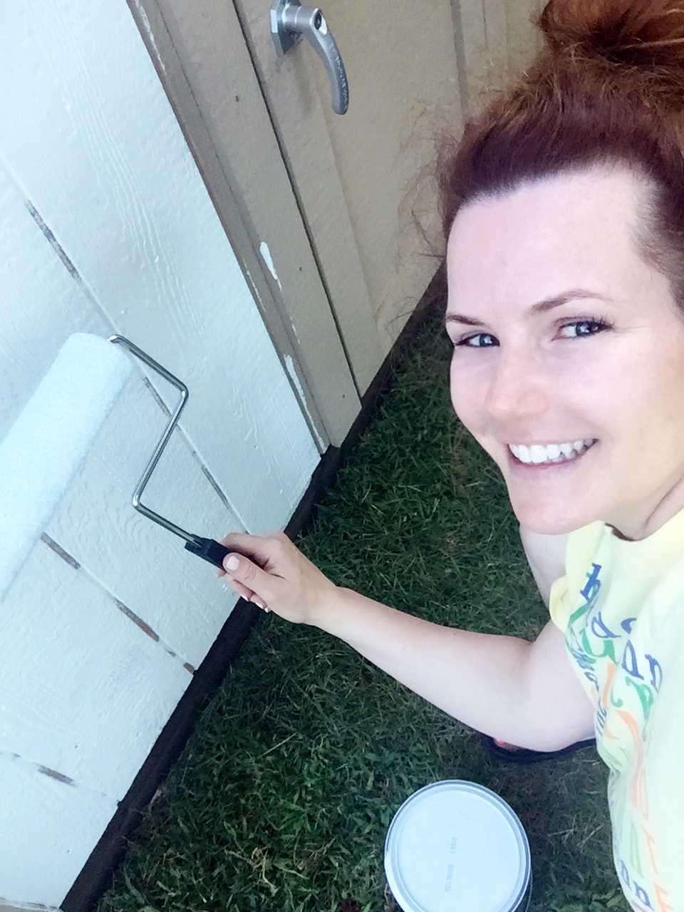 Paint, paint and more paint...using a paint-n-primer-in-one helped cover this porous wood.