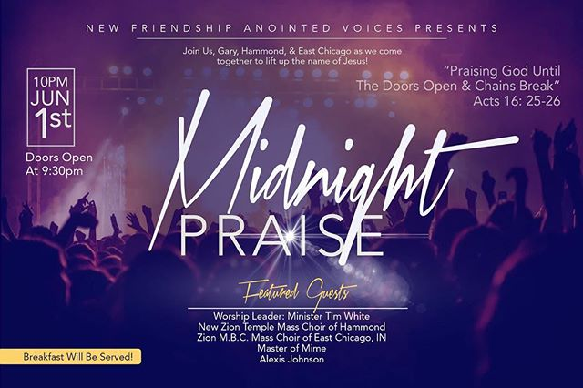 Come and praise God with us on June 1st at 10pm!  It's going to be a great time in the Lord!