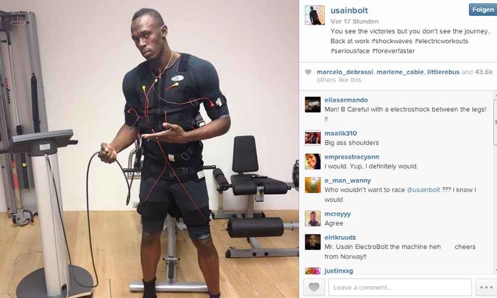 Usain Bolt, the worlds Fastest Man, trains with EMS.